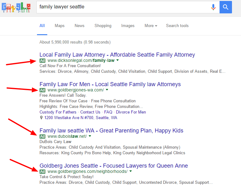 PPC Ads on a Google Search